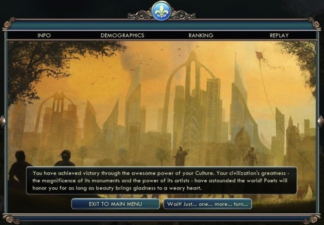 Civ 5 win screen.